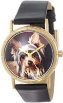 Whimsical Watches Kids' P0130077 Classic Yorkie Black Leather And Goldtone Photo Watch