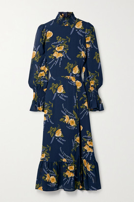 Reformation Galena Ruffled Floral-print Georgette Midi Dress - Navy