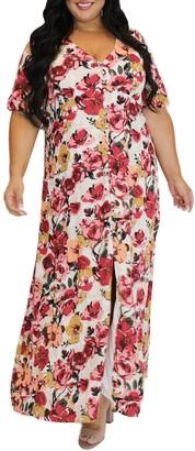 Marée Pour Toi Floral Metallic Stripe Peasant Bodice Dress