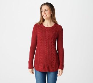 Denim & Co. Regular Pullover Cable Knit Sweater