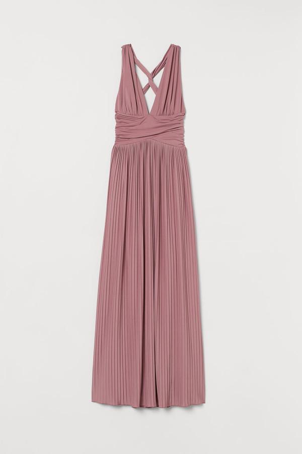 H&M Pleated Maxi Dress - Pink