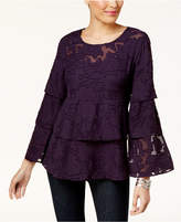 Style&Co. Style & Co Burnout Tiered Blouse, Created for Macy's