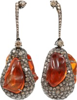 Arunashi Fire Opal And Diamond Egg Drop Earrings