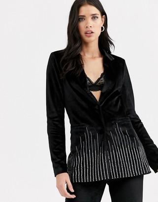 Fashion Union velvet tuxedo coord with rhinestone scattered trim