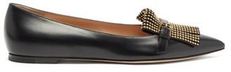 Gianvito Rossi Danielle Studded-fringe Leather Flats - Black Gold