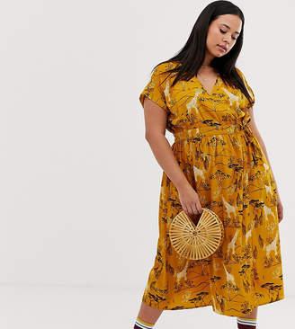 Influence Plus midi wrap dress in safari print-Yellow