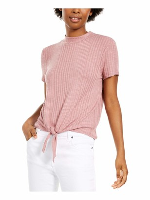 PINK ROSE Womens Pink Ribbed Short Sleeve Crew Neck Top Juniors Size: L