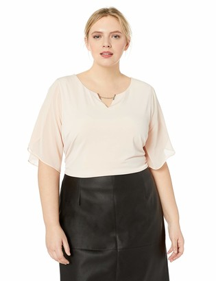 Calvin Klein Women's Plus Size Short Blouse with Chiffon Sleeve