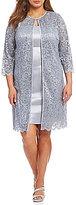 Jessica Howard Plus Glitter Lace 2-Piece Jacket Dress