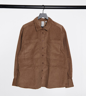 Collusion Plus Exclusive cord shirt co-ord in mocha