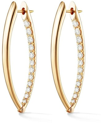 Melissa Kaye 18kt yellow gold and diamond Cristina medium hoop earrings