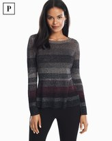 White House Black Market Petite Metallic-Striped Peplum Sweater