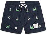 Thom Browne Slim-Fit Short-Length Appliquéd Swim Shorts