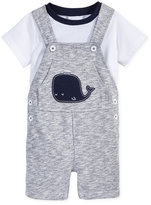 First Impressions 2-Pc. T-Shirt & Marled Whale Overall Set, Baby Boys (0-24 months), Created for Macy's