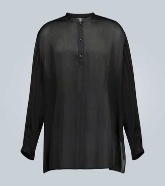 Saint Laurent Silk pleated long-sleeved blouse