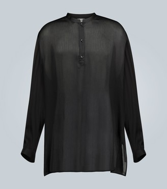 Saint Laurent Silk pleated long-sleeved blouse