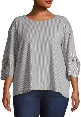 Calvin Klein Plus Striped Roundneck Top