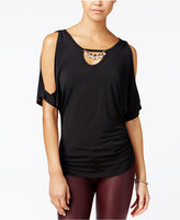 Amy Byer Juniors' Embellished Cold-Shoulder Top