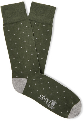 Kingsman + Corgi Polka-Dot Cotton-Blend Socks