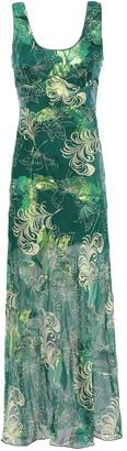 Anna Sui Printed Metallic Fil Coupe Silk-blend Maxi Dress