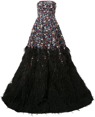 Saiid Kobeisy Feather-Embellished Strapless Gown