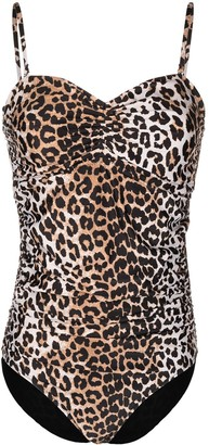 Ganni Leopard-Print One-Piece Swimsuit