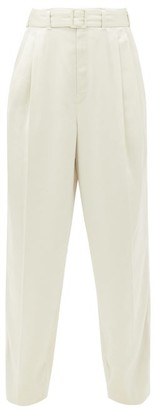 Lemaire Pleated Satin Trousers - Womens - Cream