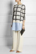 Thakoon Cotton-trimmed checked knitted sweater