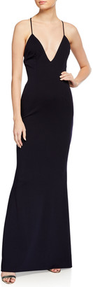 Katie May Stamina Low V-Neck Stretch Crepe Gown with Crisscross Back