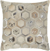 Silver Octagon-Patch Cowhide Pillow