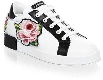 Dolce & Gabbana Toddler's & Girl's Floral Embroidered Low Lace Sneakers