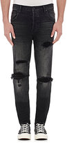 En Noir Men's Distressed Skinny Jeans-BLACK