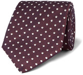 Dunhill 8cm Polka-dot Mulberry Silk And Cotton-blend Jacquard Tie - Burgundy