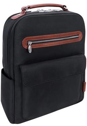 "McKlein Usa U Series, LOGAN , 1680D Ballistic Nylon with Leather Trim 17"" Nylon, Two-Tone, Dual-Compartment, Laptop & Tablet Backpack, Black (79085)"