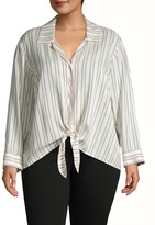 1 STATE 1.State Plus Striped Tie-Front Shirt