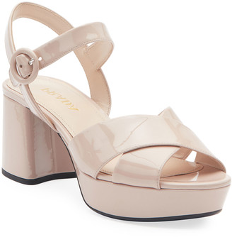 Prada Patent Leather Platform Ankle-Wrap 65mm Sandals