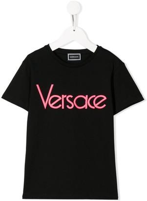 Versace neon logo print T-shirt