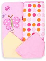 SpaSilk Baby Butterfly 4-Piece Terry Hooded Towel and Washcloth Set in Pink
