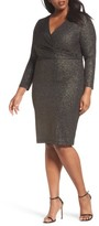 Sangria Plus Size Women's Metallic Faux Wrap Dress