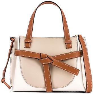 Loewe Gate Top Handle Mini Bag in Light Oat & Soft White | FWRD