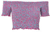 Topshop PETITE Shirred Floral-Printed Bardot Top