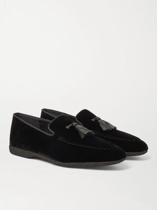 Paul Stuart Hope Leather And Grosgrain-Trimmed Velvet Tasselled Slippers