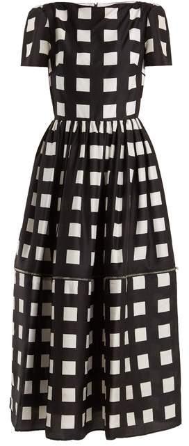 Christopher Kane Zip Hem Square Print Silk Dress - Womens - Black White