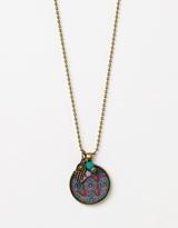 Lotus Pendant with Bead and Hamsa Charm