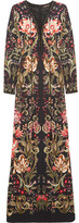 Roberto Cavalli Embellished Printed Stretch-jersey Maxi Dress - Black