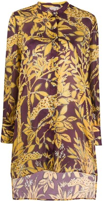 L'Autre Chose Floral-Print Flared Shirt
