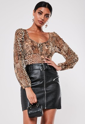 Missguided Black Mock Croc Buckle Detail Mini Skirt