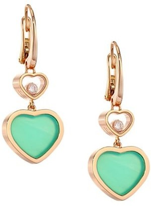 Chopard Happy Hearts 18K Rose Gold, Diamond & Chrysoprase Drop Earrings