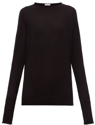 Raey Sheer Raw-edge Crew-neck Cashmere Sweater - Black
