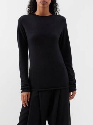 Raey Sheer Raw-edge Crew-neck Cashmere Sweater - Womens - Black